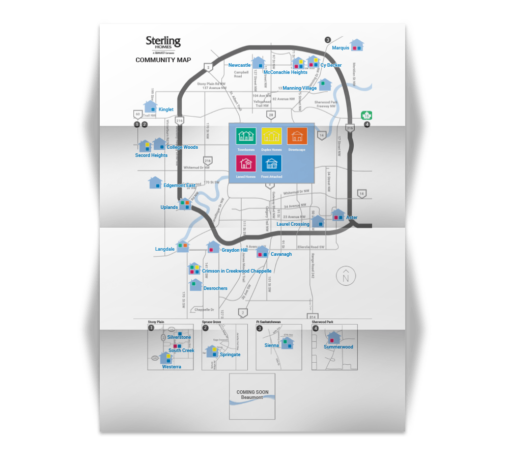 sterling homes edmonton show home map image
